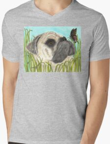 Pug Dog Butterfly Animals Cathy Peek Art Mens V-Neck T-Shirt
