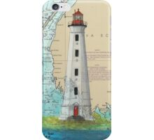 Cape Sable Lighthouse NS Canada Map Cathy Peek Art iPhone Case/Skin