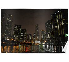 Chicago- colorful reflections in water. Poster