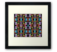 Insect like Abstract with Purple Blue Orange Yellow Green on Black  Framed Print