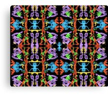 Insect like Abstract with Purple Blue Orange Yellow Green on Black  Canvas Print