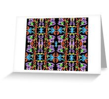Insect like Abstract with Purple Blue Orange Yellow Green on Black  Greeting Card