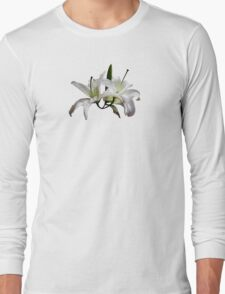 Two Delicate White Lilies Long Sleeve T-Shirt