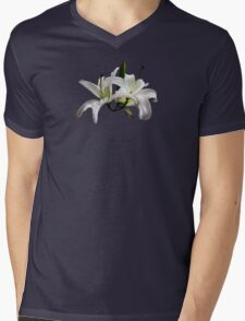 Two Delicate White Lilies Mens V-Neck T-Shirt