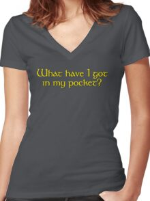 What Have I Got In My Pocket? Women's Fitted V-Neck T-Shirt