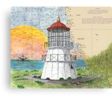 Cape Mendocino Lighthouse CA Map Cathy Peek Art Canvas Print