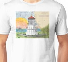 Cape Mendocino Lighthouse CA Map Cathy Peek Art Unisex T-Shirt