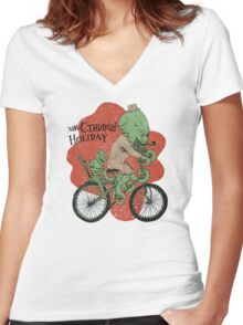 Mr. Cthulhu's Holiday Women's Fitted V-Neck T-Shirt