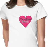 Cookie Bitch white & black on pink Womens Fitted T-Shirt