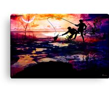 FISHING AND BONDING AT DUSK Canvas Print