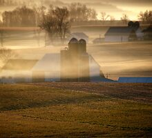 Amish farms in Morning Mist in Lancaster Co PA by KellyHeaton