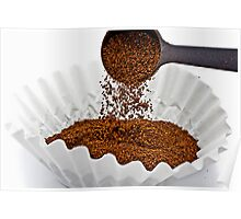 Pouring ground coffee Poster
