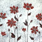 Sarah's Flowers - simplicity & a pop of red. by Lisa Frances Judd ~ QuirkyHappyArt