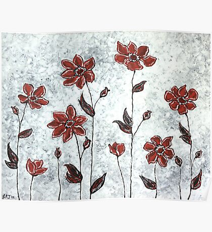 Sarah's Flowers - simplicity & a pop of red. Poster