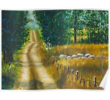 A road of countryside lanscape oilpainting Poster