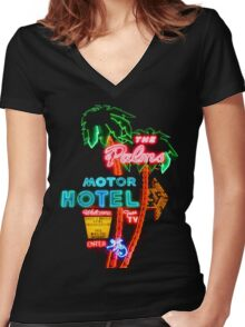 Palms Hotel Motel Neon Sign Retro Women's Fitted V-Neck T-Shirt