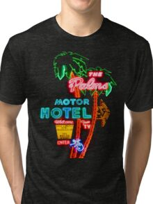 Palms Hotel Motel Neon Sign Retro Tri-blend T-Shirt