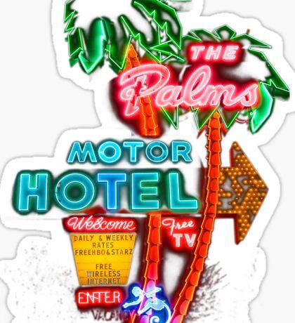 Palms Hotel Motel Neon Sign Retro Sticker