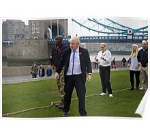 Boris Johnson takes part in a tug of war outside City Hall Poster