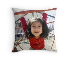 Girl on monkey bars RA Throw Pillow