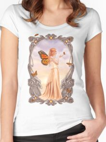 Citrine Birthstone Fairy Women's Fitted Scoop T-Shirt