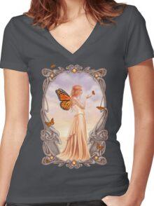 Citrine Birthstone Fairy Women's Fitted V-Neck T-Shirt