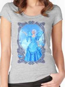 Blue Topaz Birthstone Fairy Women's Fitted Scoop T-Shirt