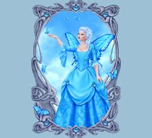 Blue Topaz Birthstone Fairy Womens Fitted T-Shirt