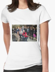 London Poppy day tug of war at Canary Wharf Docklands  Womens Fitted T-Shirt