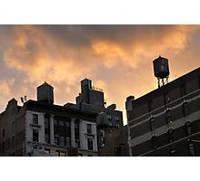 A buildings in New York City and old water towers.  Photographic Print