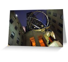 Atlas statue and Rockefeller center at dusk Greeting Card