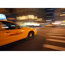 Blurred NYC taxi cab during the rush hour  Photographic Print