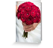 Wedding Bouquet of Red Flowers  Greeting Card