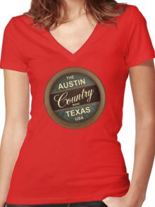Austin Country Music Texas Women's Fitted V-Neck T-Shirt