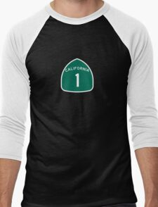 California Highway 1 T-Shirt - State Route One Road Sign Sticker PCH Men's Baseball ¾ T-Shirt