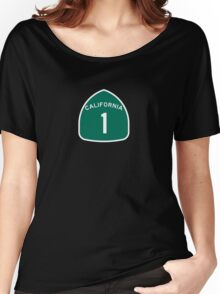 California Highway 1 T-Shirt - State Route One Road Sign Sticker PCH Women's Relaxed Fit T-Shirt