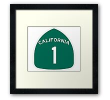 California Highway 1 T-Shirt - State Route One Road Sign Sticker PCH Framed Print