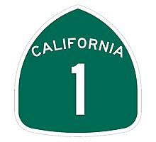 California Highway 1 T-Shirt - State Route One Road Sign Sticker PCH Photographic Print