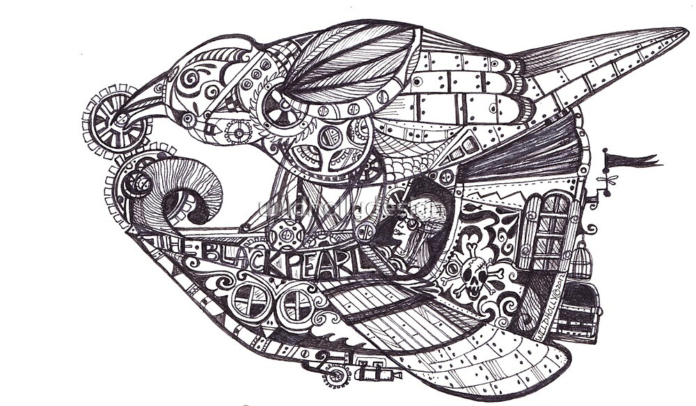 Steampunk Airship - The Black Pearl by wildhollydesign