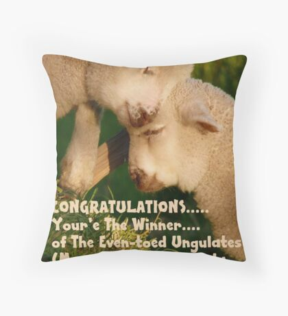 Challenge WINNER BANNER for Even-toed Ungulates - Lambs - NZ Throw Pillow