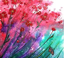 Dancing Poppies - Flowers  by Linda Callaghan