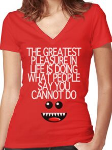 THE GREATEST PLEASURE Women's Fitted V-Neck T-Shirt