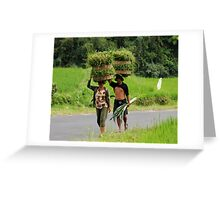 Farmers carrying grass on their heads Greeting Card