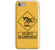 Helmets Recommended (II), Traffic Warning Sign, USA iPhone Case/Skin