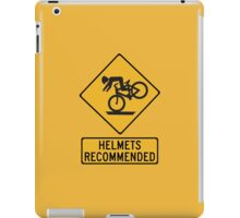 Helmets Recommended (II), Traffic Warning Sign, USA iPad Case/Skin