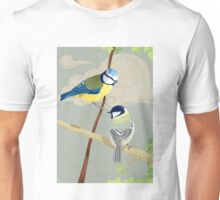 British birds. The blue tit and great tit Unisex T-Shirt