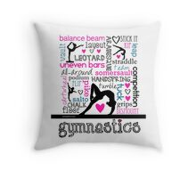 Gymnastics Tri-Color Typography Throw Pillow