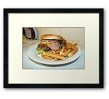 Hamburger and chips. Framed Print