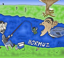 Binary Options Caricature - President Obama, President Ahmedinajad and the Strait of Hormuz by Binary-Options