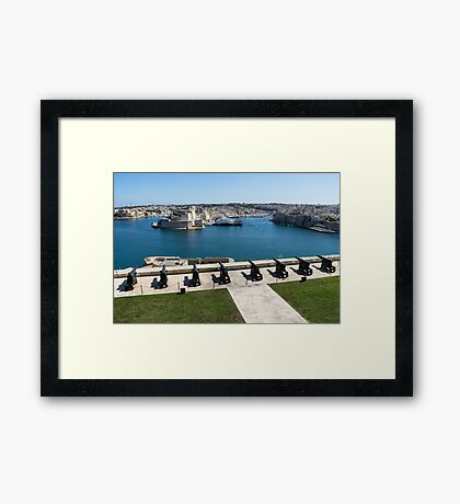 Guarding the Expensive Boats - Valletta's Grand Harbour Saluting Battery Framed Print